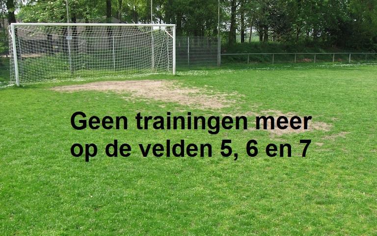 Geen trainingen meer op veld 5, 6 en 7