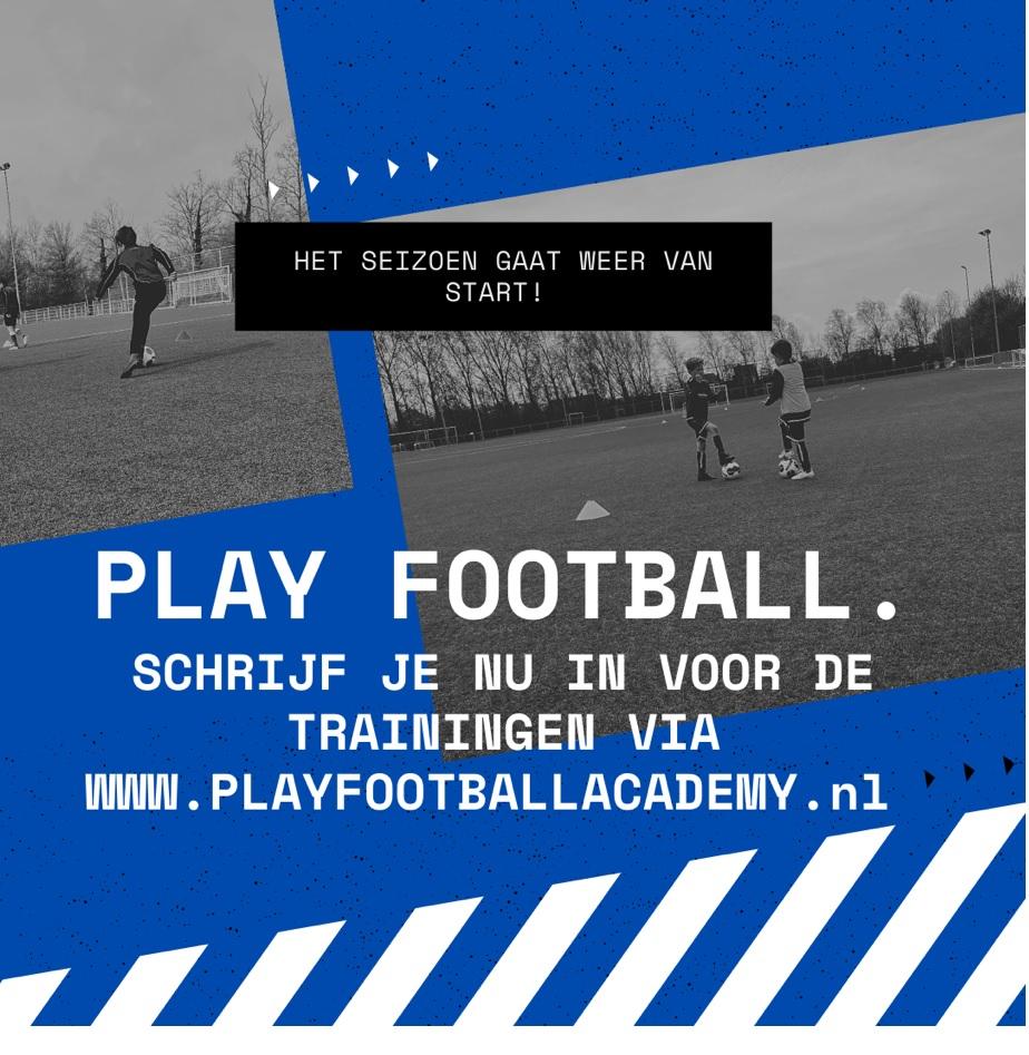 TRAININGEN 2021-2022.  SCHRIJF JE SNEL IN VOOR DE TRAININGEN VAN PLAY FOOTBALL.!